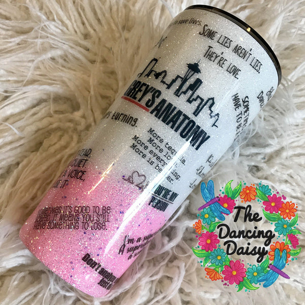 24 oz Grey's Anatomy ombre themed tumbler