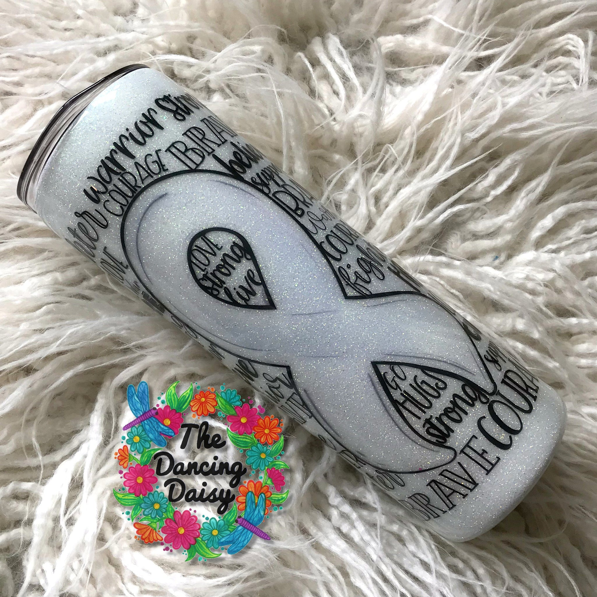 White cancer support ribbon  - skinny 20 oz double walled tumbler