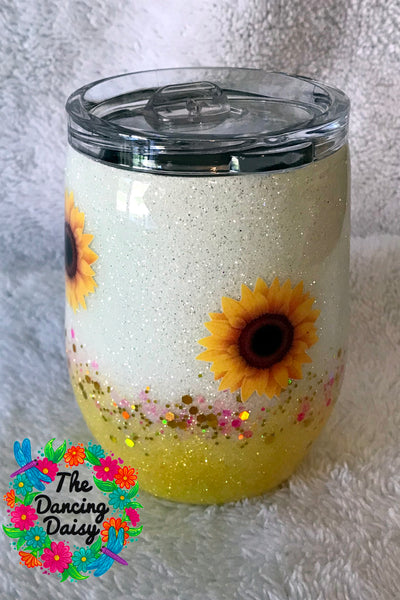 Sunflower 12 oz wine tumbler