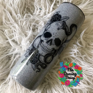 Tattoo skull / snake silver - skinny 20 oz double walled tumbler