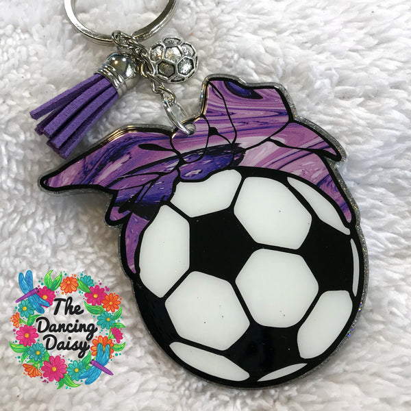 Sports ball with bandana acrylic keychain