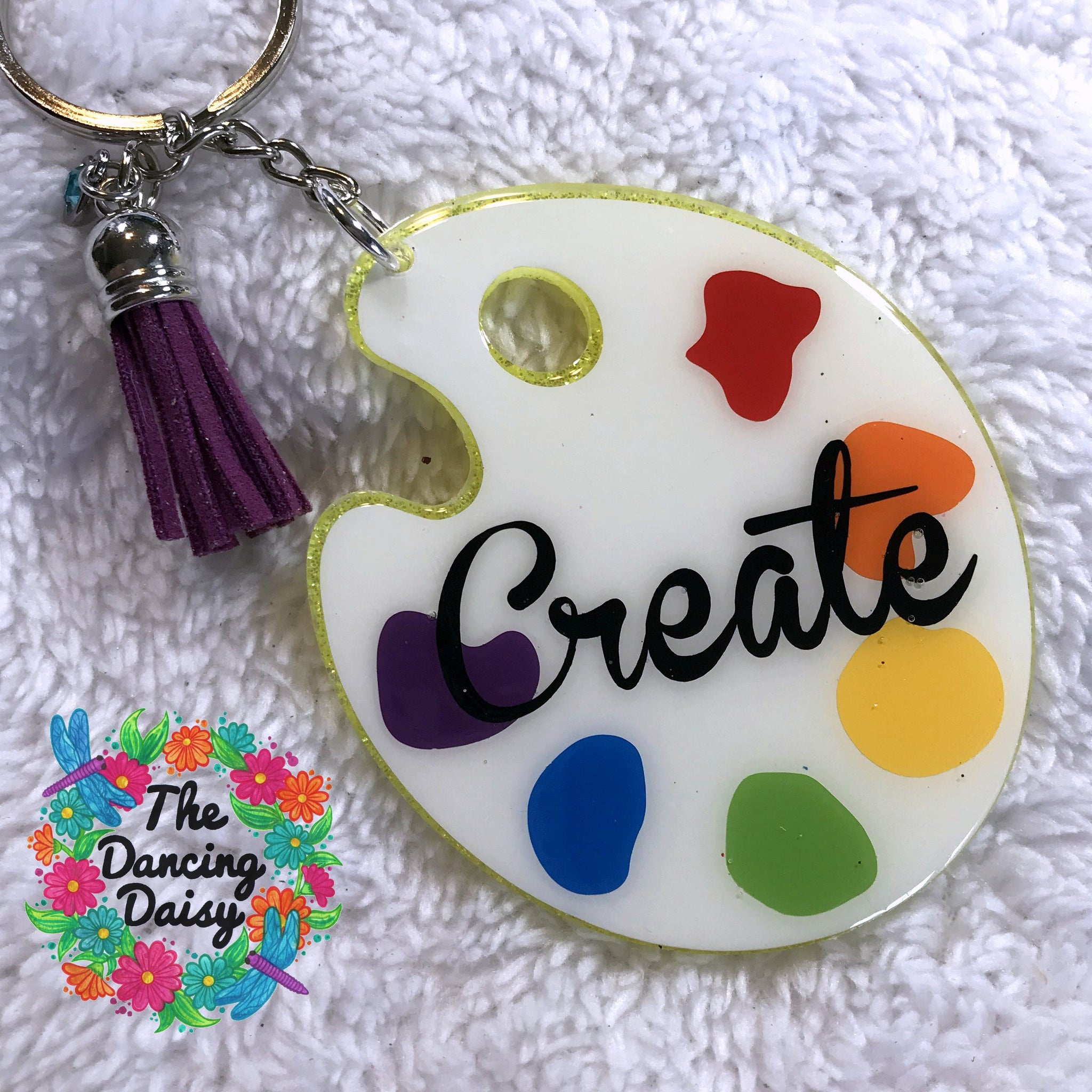 Painter's palette acrylic keychain