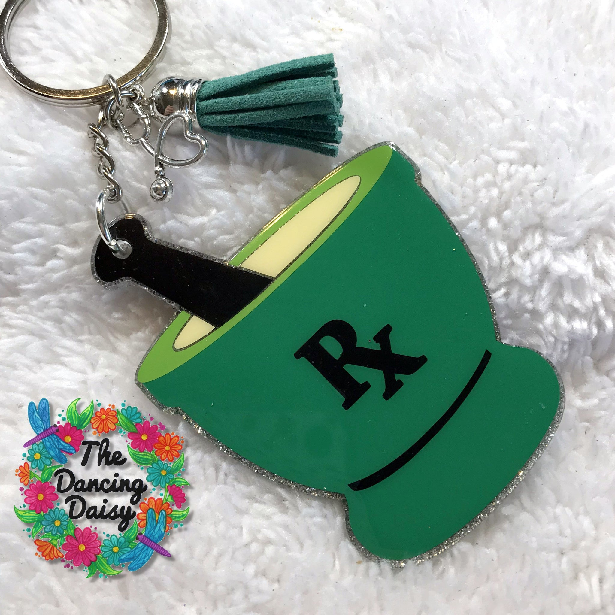 Pharmacist Mortar and Pestle RX acrylic keychain
