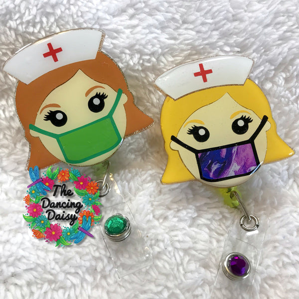 Nurse with mask - Badge Reel