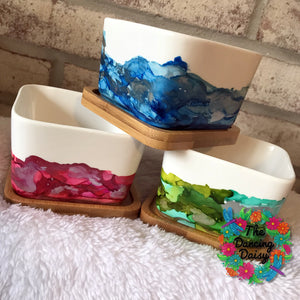 3 inch SQUARE abstract painted Flower Pots (2 inches high)