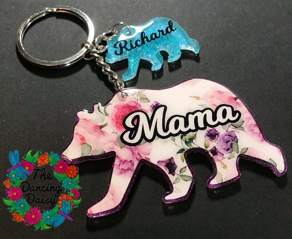 Mama and baby keychain - animals vary - your choice (ONE BABY)