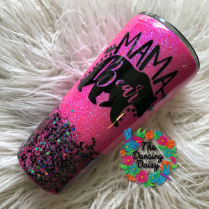 32 oz Mama Bear - hot pink and black