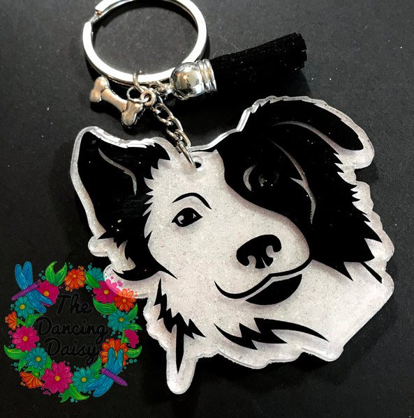 Border Collie - face - dog acrylic keychain