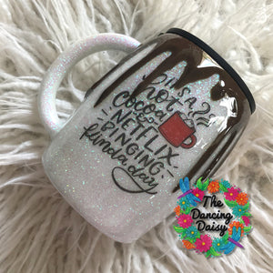 14 oz white glitter hot chocolate drip mug - Netflix watching day