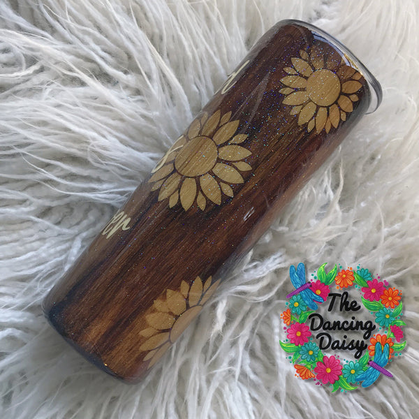 "20 oz SKINNY ""be a sunflower"" wood grain tumbler"