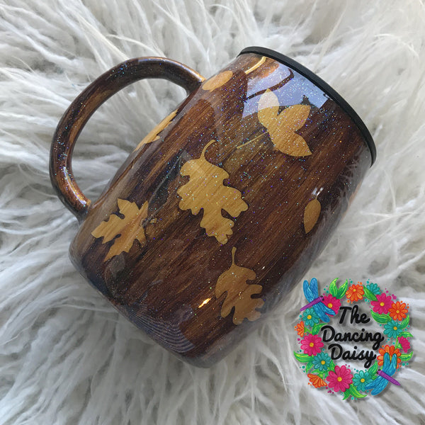 14 OZ wood grain leaf mug