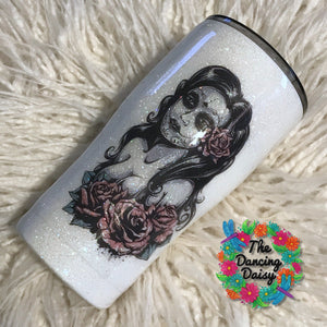 20 oz white pin up style day of the dead tumbler