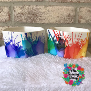 4 inch HEXAGON splash abstract painted Flower Pots (3 inches high)
