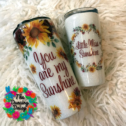 Mother/ Daughter Sunshine Sunflower matching set 24 oz and 16 oz
