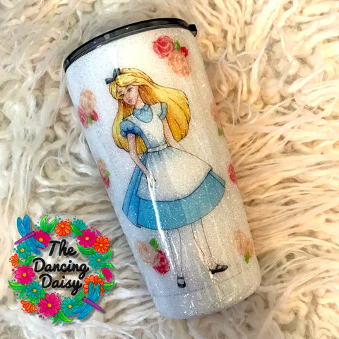 20 oz Alice in Wonderland themed tumbler