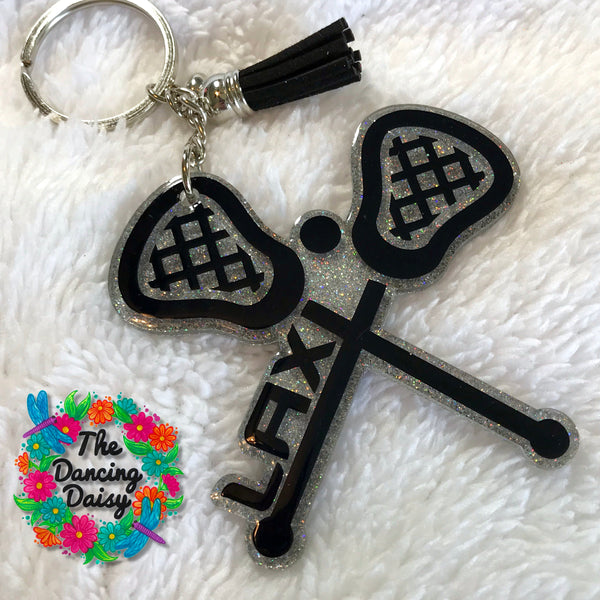Lacrosse LAX crossed sticks acrylic keychain