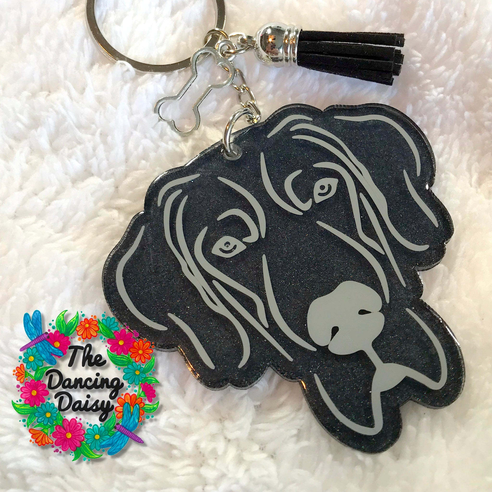 Uncropped Great Dane dog keychain