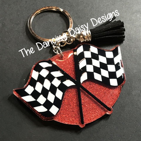 Checkered Flags / racing acrylic keychain