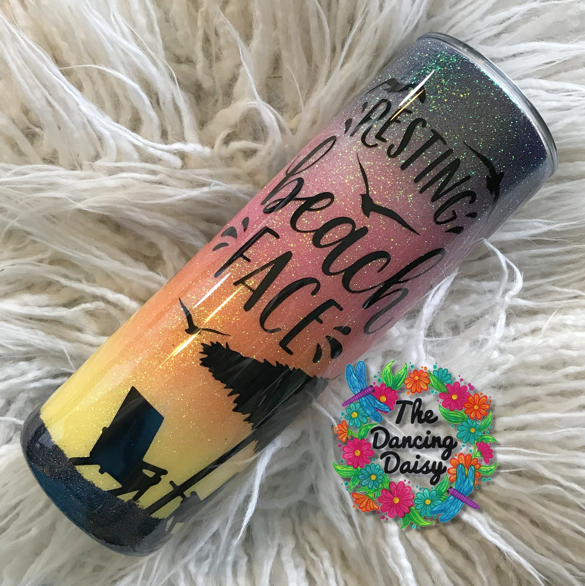 "20 oz skinny tumbler - Beach sunset ""Resting Beach Face"""