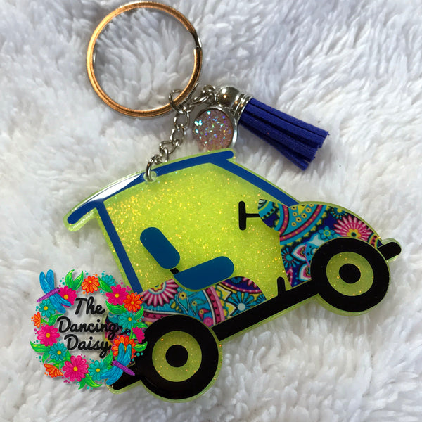 Golf Cart acrylic keychain