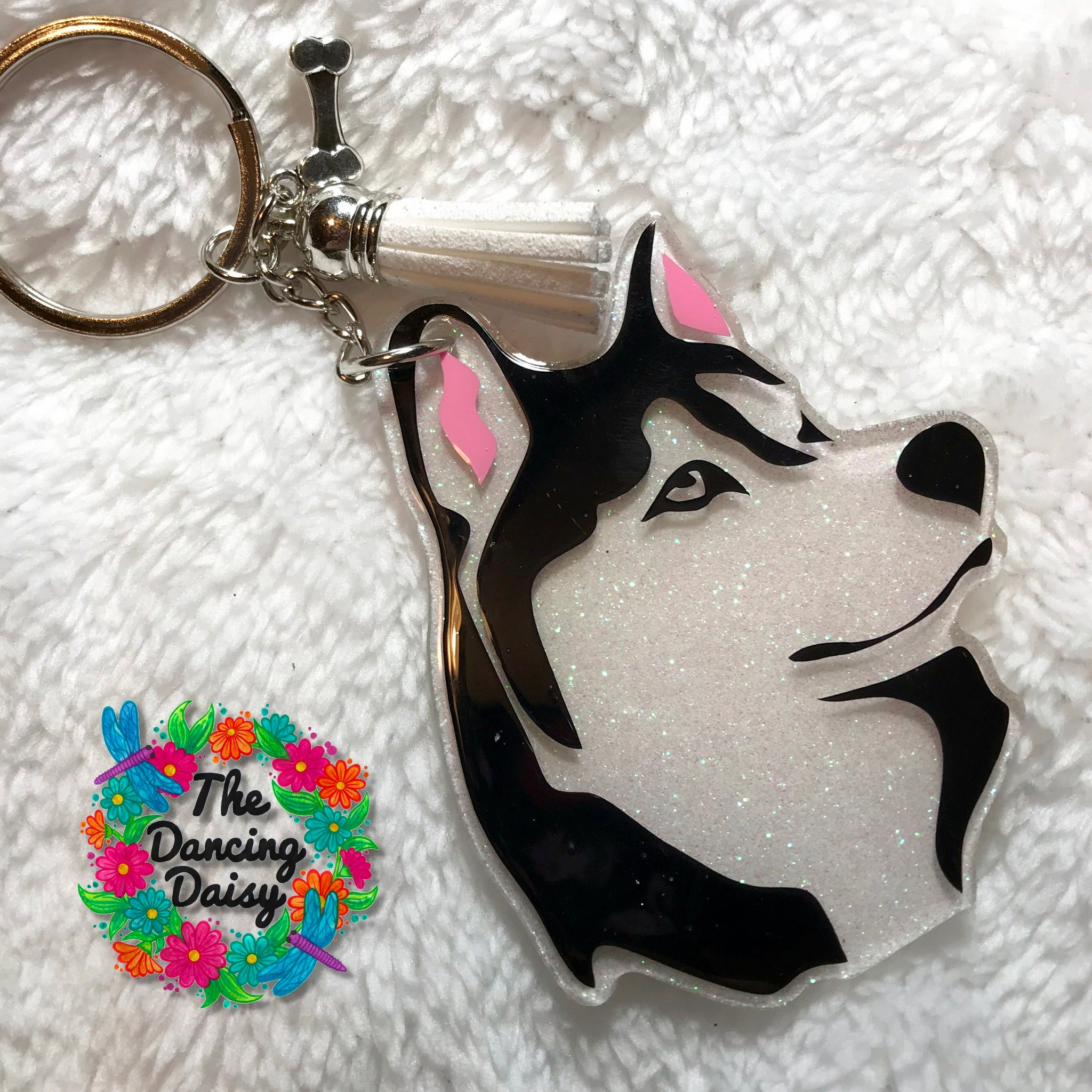 Husky face dog keychain