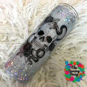 Tattoo skull / snake silver - skinny 30 oz double walled tumbler