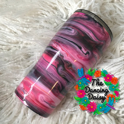 Pink and black ink swirl 20 oz double walled tumbler