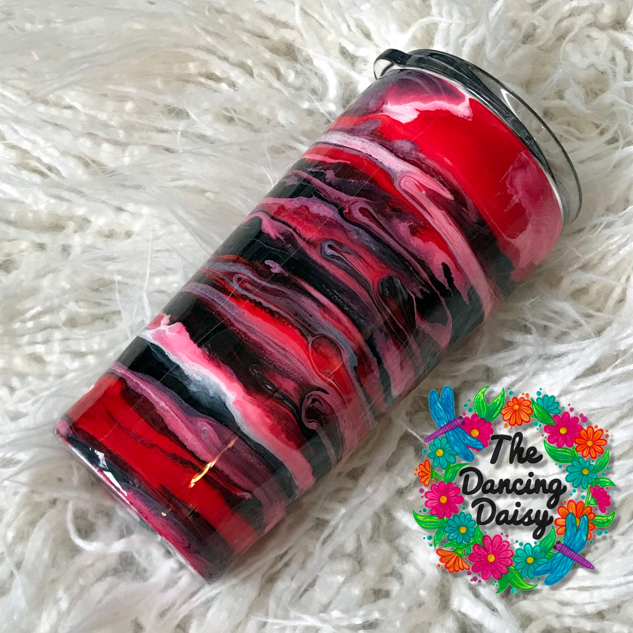 16 oz red, black and white swirl tumbler