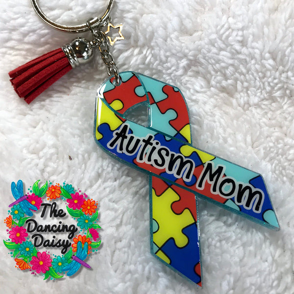 Autism awareness ribbon acrylic keychain - puzzle