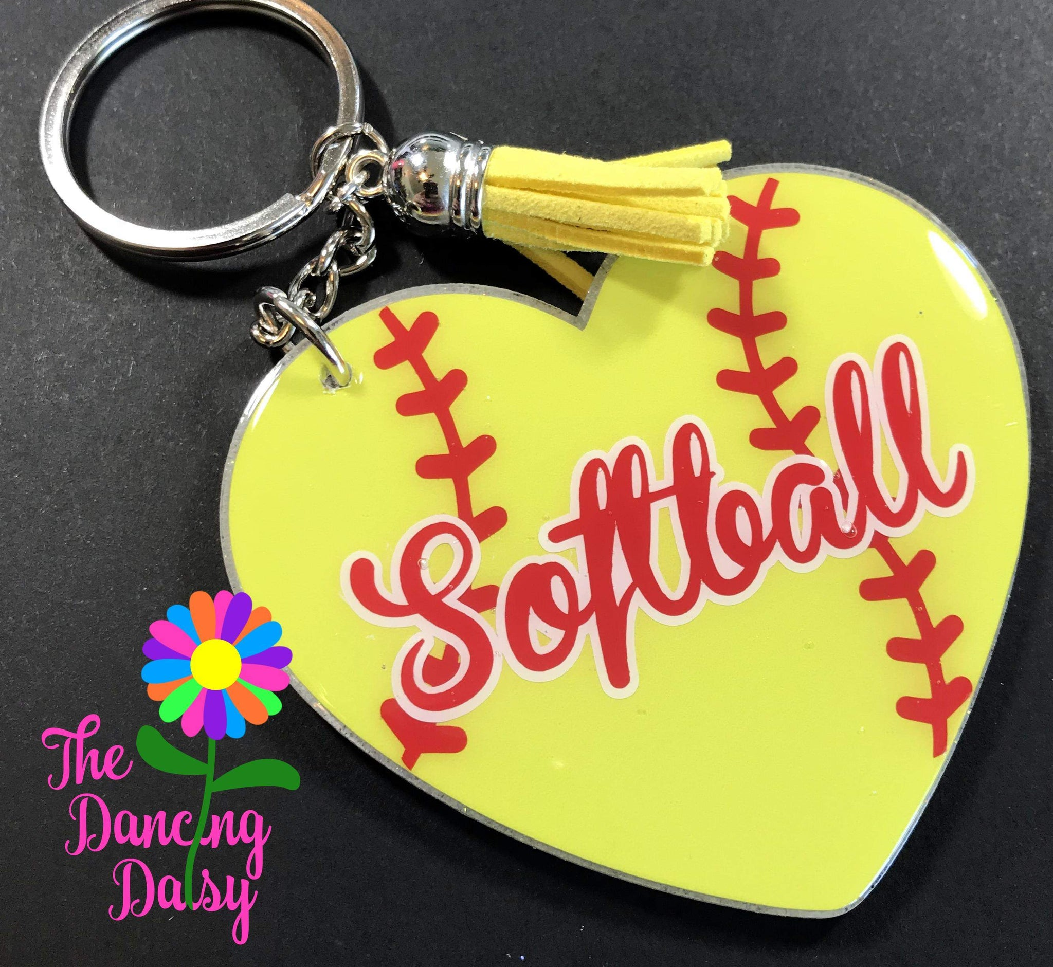 Softball Heart Keychain