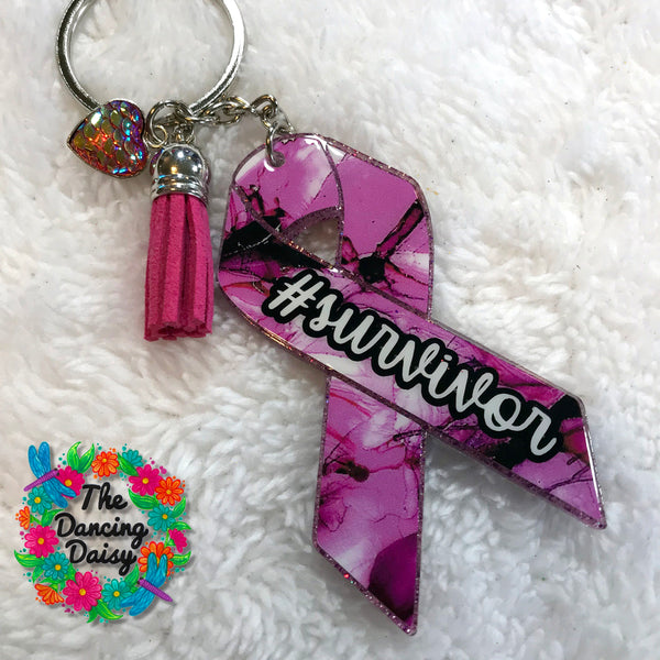 Breast cancer awareness ribbon acrylic keychain