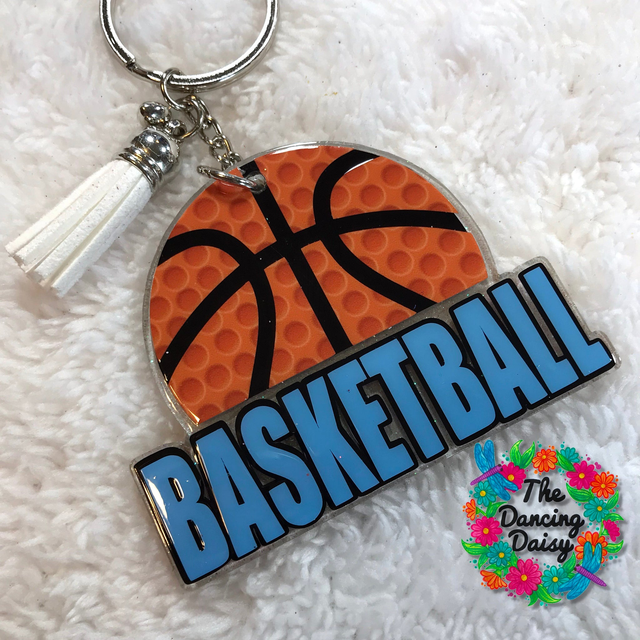 Basketball word with ball keychain