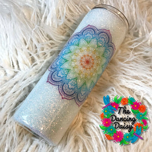 White glitter / rainbow mandala - skinny 20 oz double walled tumbler