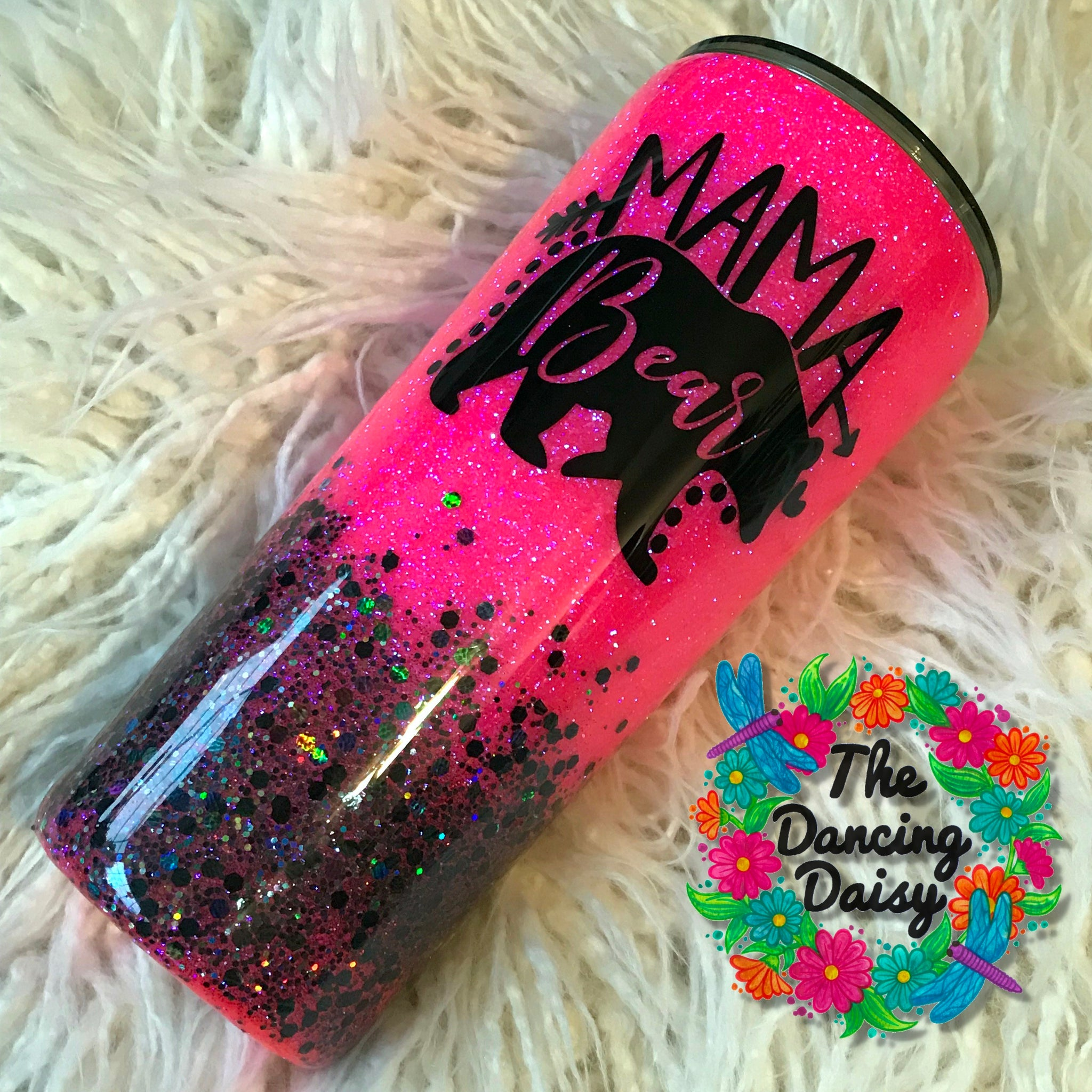 22 oz Mama Bear - hot pink and black