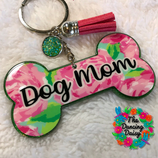 Dog bone - Dog Mom acrylic keychain