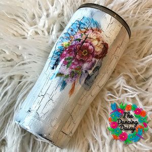 Crackle paint native american skull 20 oz tumbler