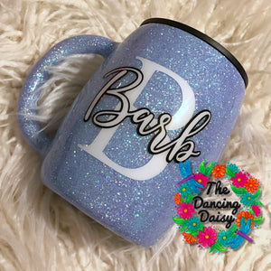 Simple initial / name glittered - 14 oz traditional mug