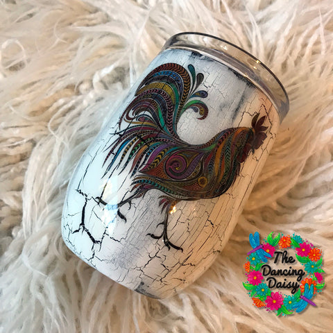 12 oz rooster crackle finish wine tumbler
