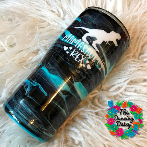 20 oz ink swirl Mamasaurus Rex tumbler - ready to ship