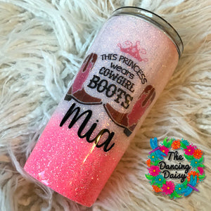 16 oz Princess wears Cowgirl Boots - pink tumbler