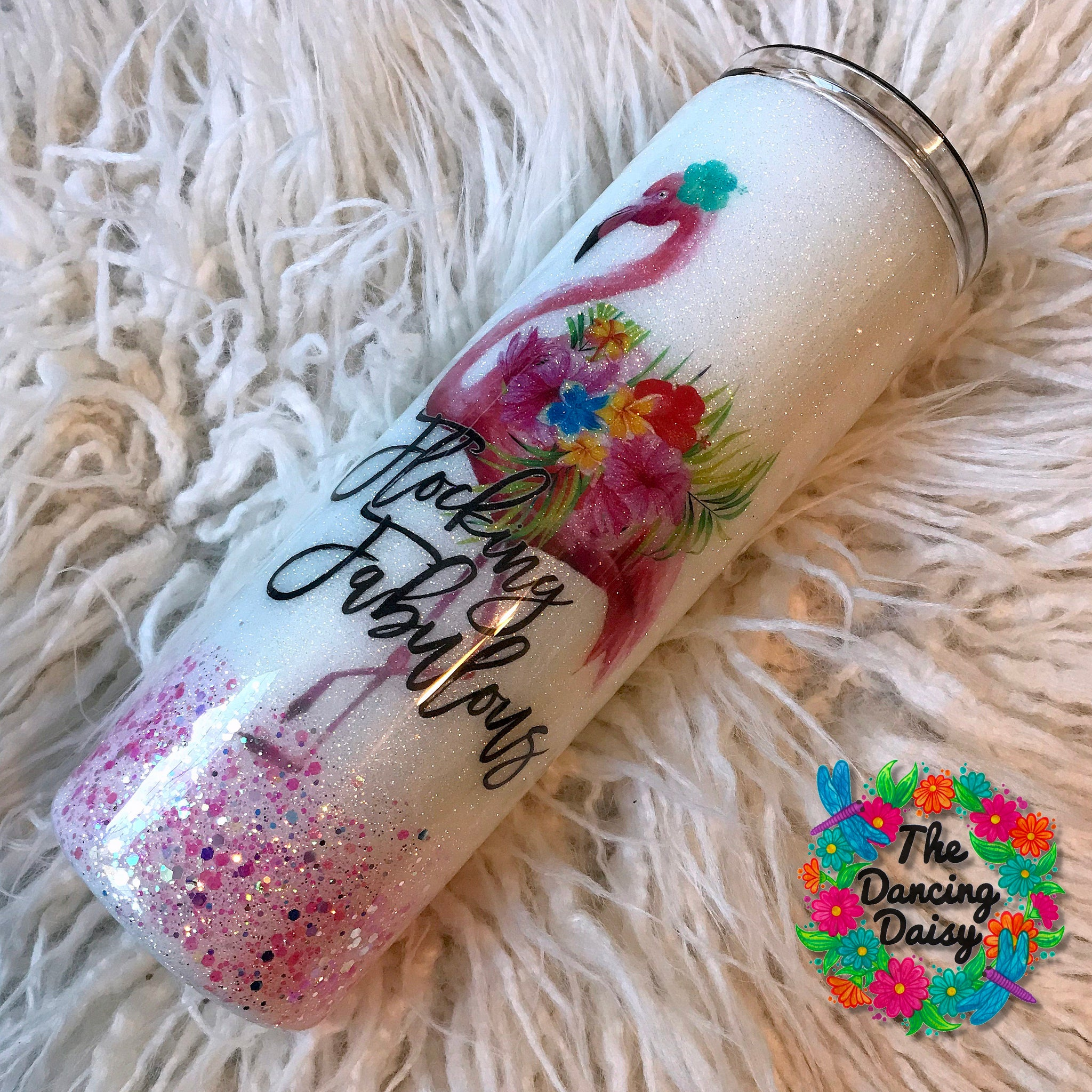 20 oz skinny Flocking Fabulous flamingo tumbler