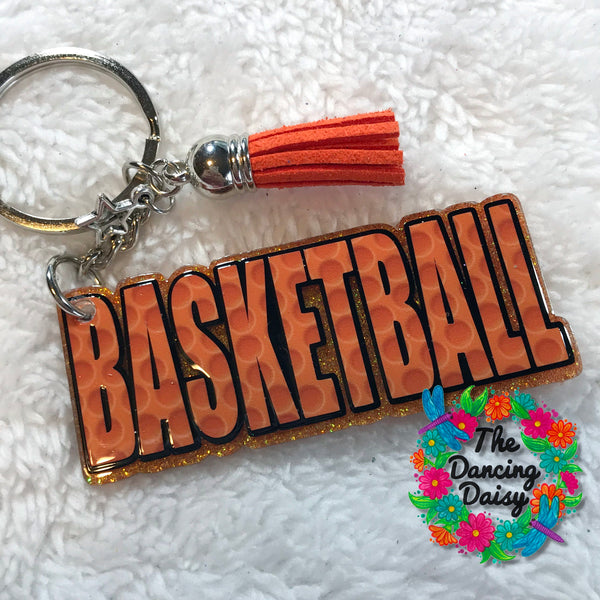Basketball word keychain