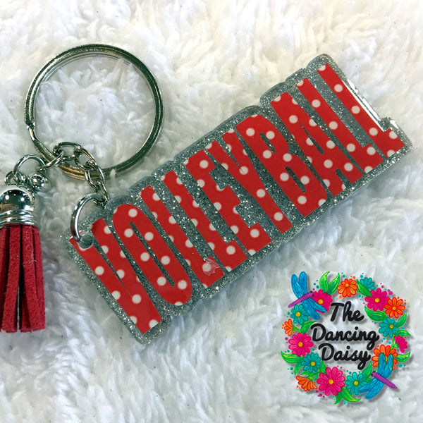 Volleyball word Keychain