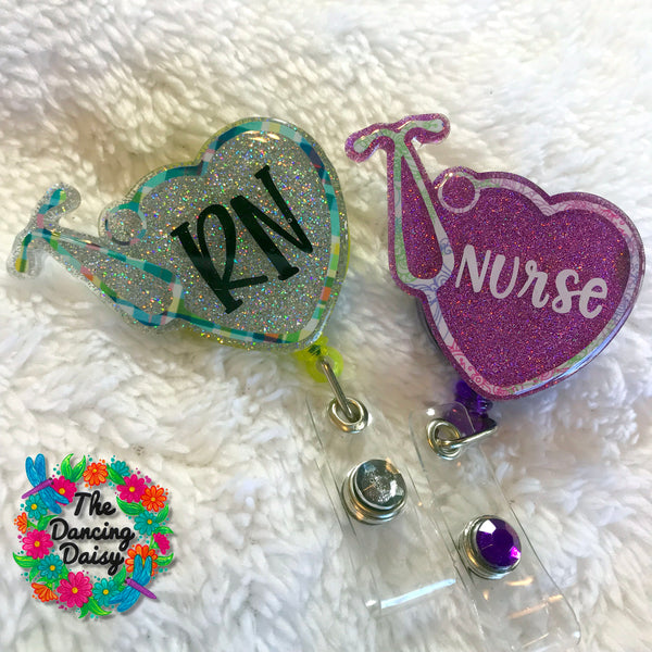 Nurse Heart Stethoscope Badge Reel