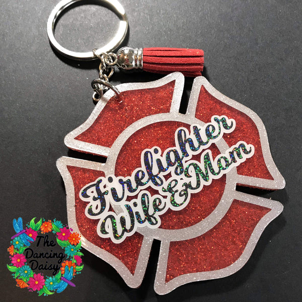 Firefighter Wife acrylic keychain - maltese cross