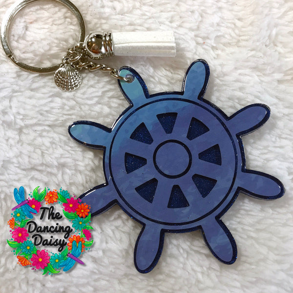Ship wheel acrylic keychain