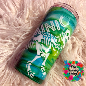 16 oz tumbler with dinosaur and name
