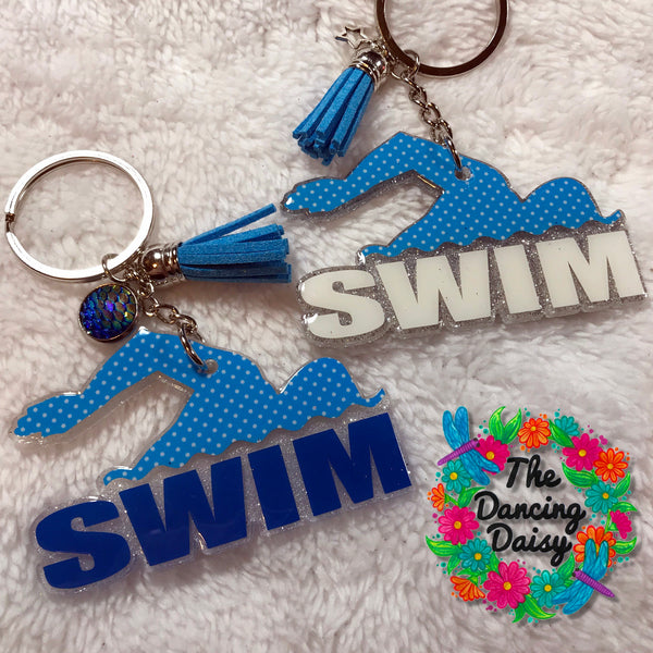 SWIM word with Freestyle swimmer acrylic keychain
