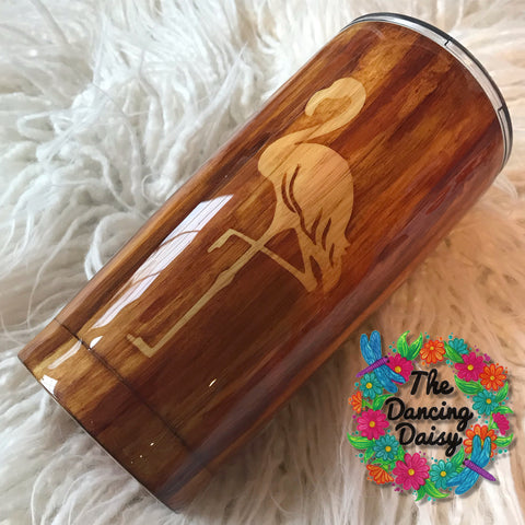 20 oz wood grain flamingo tumbler