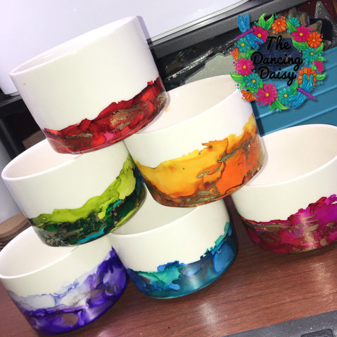 4 inch ROUND abstract painted Flower Pots (3 inches high)